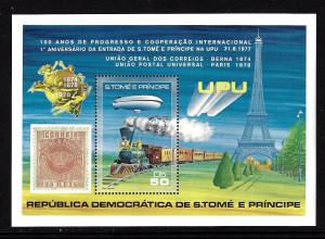 Sao Thomé und Principe: 1978, Blockausgabe 100 Jahre UPU (auch Motiv Eisenbahn, Zeppelin und Marke auf Marke