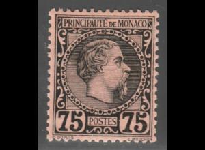 Monaco: 1885, Fürst Charles III. 75 C. (Erstfalz, M€ 250,-)