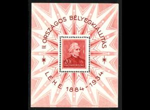 Ungarn: 1934, Blockausgabe Briefmarken-Ausstellung Budapest