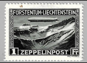 """Liechtenstein: 1931, Luftschiff """"Graf Zeppelin"""" 1 Fr. (Einzelstück mit kleinem Papiereinschluss)"""