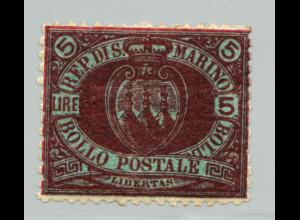 San Marino: 1892, Landeswappen 5 L. (Höchstwert, M€ 170,-)