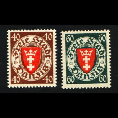 Danzig: 1935, Staatswappen 40 und 60 Pfg. (postfrisch, M€ 90,-)
