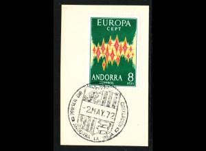 Spanisch-Andorra: 1972, Europa-Cept (Briefstück mit Esst)