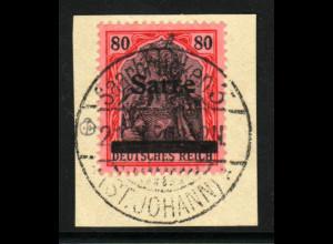 Saar: 1920, Germania 80 Pfg., (Briefstück, gepr. Burger BPP, M€ 360,-)