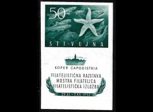 Triest - Zone B: 1952, Blockausgabe Briefmarkenausstellung (Fische und Seestern, M€ 80,-)