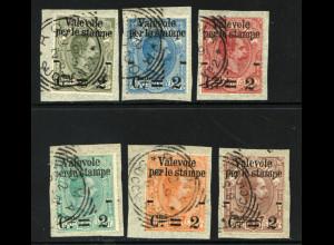 Italien: 1890, Überdruck-Ausgabe Paketmarken (auf Einzelbriefstücken)