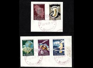Jugoslawien: 1950, Schacholympiade (Briefstücke mit rotem Esst)