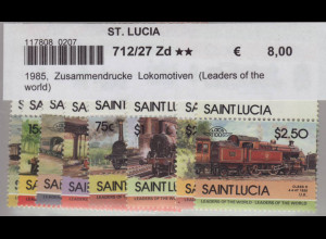 St. Lucia: 1985, Zusammendruckpaare Lokomotiven (Leaders of the world)