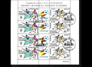 Andorra (spanische Post): 1982, Kleinbogen Fußball-WM Spanien (Motiv: Spielszenen)