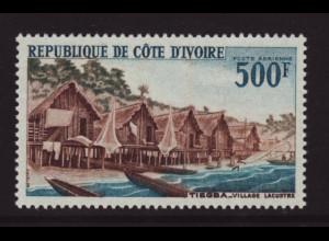 Elfenbeinküste: 1967, Freimarke Bauwerke 500 Fr. (Pfahldorf)