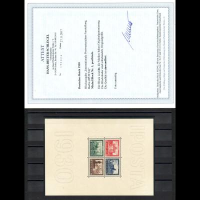 1930, IPOSTA-Blockausgabe postfrisch (neues Fotoattest Schlegel BPP)