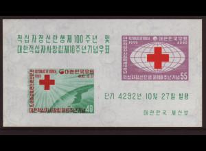 Südkorea: 1959, Blockausgabe Rotes Kreuz
