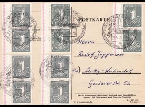 1958, Ziffern 1 Pfg. portogerechte Mehrfachfrankatur mit 10 Werten