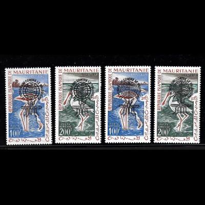 Mauretanien: 1962, Überdruckausgabe Malariabekämpfung in beiden Typen, Vögel
