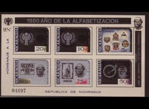 Nicaragua: 1980, Überdruck-Blockausgabe Alphabetisierungskampagne (u. a. Motiv Weltraum / Jahr des Kindes)