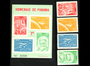 Panama:1962, 1. Orbitalflug von John Glenn (Satz und Blockausgabe)