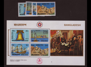 Bangladesch: 1976, 200 Jahre USA (Satz und Blockausgabe gezähnt)