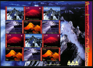 UNO Genf: 2002, Zdr.-Kleinbogen Jahr der Berge