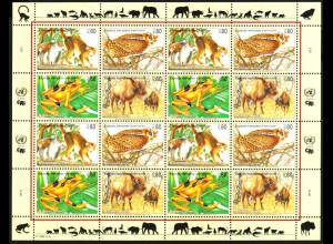 UNO Genf: 1995, Zdr.-Kleinbogen Gefährdete Arten III (Tiere)
