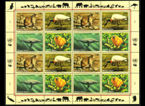 UNO Genf: 1994, Zdr.-Kleinbogen Gefährdete Arten II (Tiere)