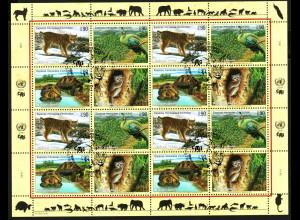 UNO Genf: 2001, Zdr.-Kleinbogen Gefährdete Arten IX (Tiere)
