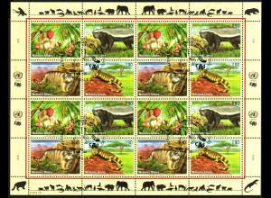 UNO Genf: 2002, Zdr.-Kleinbogen Gefährdete Arten X (Tiere)