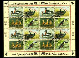 UNO Genf: 2003, Zdr.-Kleinbogen Gefährdete Arten XI (Vögel)