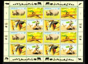 UNO Wien: 1995, Zdr.-Kleinbogen Gefährdete Arten III (Tiere)