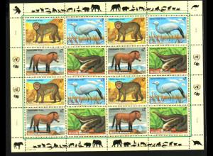UNO Wien: 1997, Zdr.-Kleinbogen Gefährdete Arten V (Tiere)