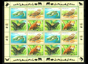 UNO Wien: 1998, Zdr.-Kleinbogen Gefährdete Arten VI (Tiere)
