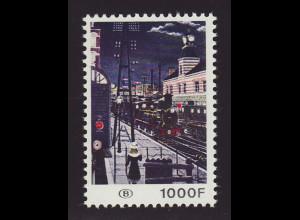 Belgien: 1977, Eisenbahnpaketmarken: Gemälde Bahnhof bei Nacht