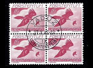 Liechtenstein: 1939, Flugpost Vögel 1 Fr. (zentr. gest. Viererblock, M€ 96,-)
