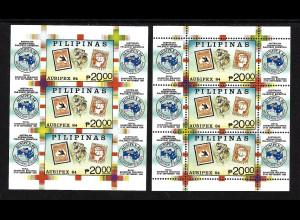 """Philippinen: 1984, Blockpaar Briefmarkenausst. """"AUSIPEX 84"""" (gez. und ungezähnt, Motiv: Briefmarke auf Briefmarke, Tiere, M€ 70,-)"""