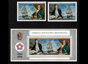 Cook-Inseln: 1976, 200 Jahre Unabhängigkeit USA (Satz und Blockausgabe, Motiv: Alte Segelschiffe)