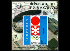 Paraguay: 1970, Blockausgabe Winterolympiade Sapporo (Stadion)