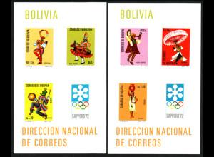 Bolivien: 1972, Blockpaar Winterolympiade Sapporo (Volkstänze)