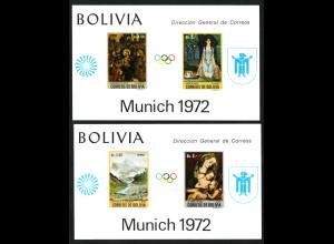 Bolivien: 1972, Blockpaar Sommerolympiade München (Gemälde, M€ 110,-)