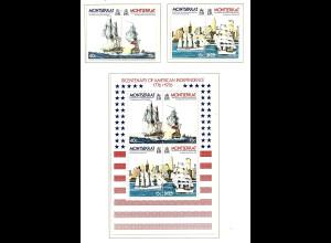 Monserrat: 1976, 200 Jahre USA (Satz und Blockausgabe, Motiv Schiffe)