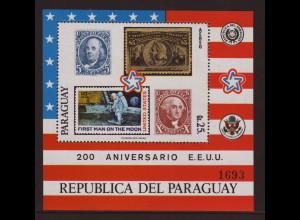 Paraguay: 1976, Blockausgabe 200 Jahre USA (Motiv: Marke auf Marke und Weltraum)