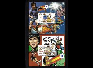 Dschibuti: 1982, Blockpaar Gewinner der Fußball-WM Spanien (Motiv: Spielszenen, gezähnt)