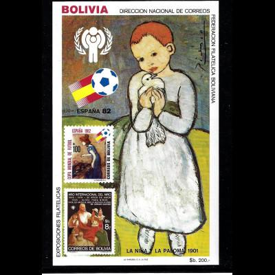 Bolivien: 1982, Blockausgabe Fußball-WM Spanien (Gemälde von Picasso)