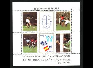 Argentinien: 1982, Blockausgabe Fußball-WM Spanien (Spielszenen)