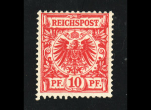 1889, 10 Pfg., bessere Farbe mittelkarminrot mit Plattenfehler, gepr. BPP