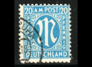 Bizone: 1945, AM-Post 20 Pfg. in seltener Type (gepr. Hettler BPP, M€ 80,-)