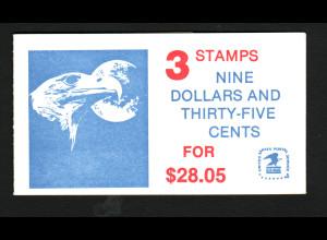 USA: 1983, Markenheftchen mit 3 Stück Eilmarke Adler $ 9,35 (Kat.-Nr. 1648, M€ 90,-)