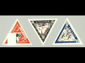 Lettland: 1933, Dreiecksmarken Militärflieger III (gezähnt, M€ 130,-)