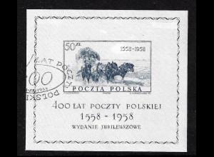Polen: 1958, Blockausgabe Postkutsche (auf Seide gedruckt)