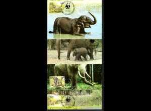 Sri Lanka: 1986, Maximumkarten Elefanten (WWF-Ausgabe)