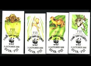 Fidschi-Inseln: 1988, Frösche (WWF-Ausgabe, Briefstücke mit Esst)
