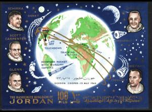 Jordanien: 1964, Überdruck-Blockausgabe Weltraumflug von Gordon Cooper